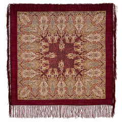 Pavlovo Posad Shawl Pavlovo Posad with silk fringe 89 x 89 855-7 The Gardens Of Shiraz