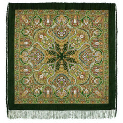 Pavlovo Posad Shawl Pavlovoposadskij with wool fringe 146 x 146 710-10 Spanish