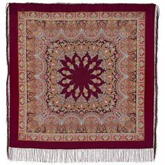 Pavlovo Posad Shawl Pavlovoposadskij with wool fringe 125 x 125 1581-7 Magic dance