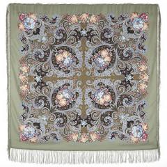 Pavlovo Posad Shawl Pavlovoposadskij with wool fringe 125 x 125 1665-2 Dreams of happiness