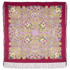 Pavlovo Posad Shawl Pavlovoposadskij with wool fringe 125 x 125 1665-6 Dreams of happiness