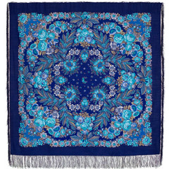 Pavlovo Posad Shawl Pavlovoposadskij with wool fringe 146 x 146 1462-14 Recognition