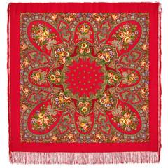 Pavlovo Posad Shawl Pavlovoposadskij with wool fringe 146 x 146 1121-3 Viennese waltz