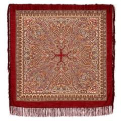 Pavlovo Posad Shawl Pavlovoposadskij with wool fringe 125 x 125 665-5 Radiant