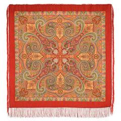 Pavlovo Posad Shawl Pavlovoposadskij with wool fringe 125 x 125 814-4 Classic