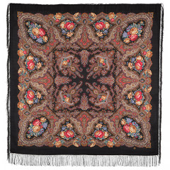 Pavlovo Posad Shawl Pavlovoposadskij with wool fringe 146 x 146 1171-19 Spanish wine