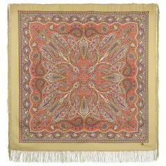 Pavlovo Posad Shawl Pavlovoposadskij with wool fringe 146 x 146 1496-2 Ginger