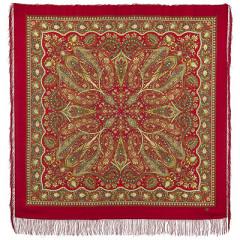 Pavlovo Posad Shawl Pavlovoposadskij with wool fringe 146 x 146 1496-5 Ginger