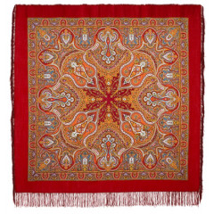 Pavlovo Posad Shawl Pavlovoposadskij with wool fringe 146 x 146 710-5 Spanish