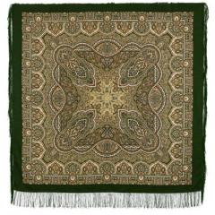 Pavlovo Posad Shawl Pavlovoposadskij with wool fringe 146 x 146 762-10 The semi-casket