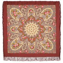 Pavlovo Posad Shawl Pavlovoposadskij with wool fringe 146 x 146 1121-16 Viennese waltz