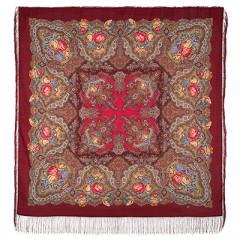 Pavlovo Posad Shawl Pavlovoposadskij with wool fringe 146 x 146 1171-6 Spanish wine
