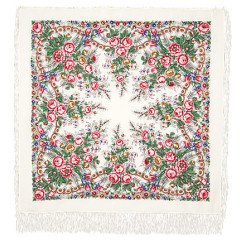 Pavlovo Posad Shawl Pavlovoposadskij with wool fringe 125 x 125 555-1 Spring morning