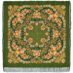 Pavlovo Posad Shawl Pavlovoposadskij with wool fringe 146 x 146 1462-10 Recognition