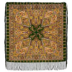 Pavlovo Posad Shawl Pavlovo Posad with silk fringe 89 x 89 1155-10 Saffron