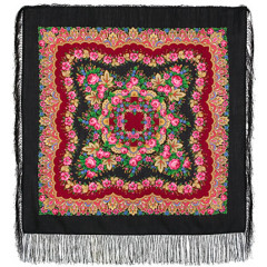 Pavlovo Posad Shawl Pavlovoposadskij with wool fringe 89 x 89 1381-18 Romanticism