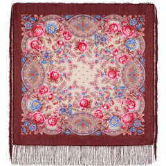 Pavlovo Posad Shawl Pavlovoposadskij with wool fringe 89 x 89 1453-16 The godmother