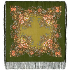Pavlovo Posad Shawl Pavlovo Posad with silk fringe 89 x 89 1488-10 Evening garden