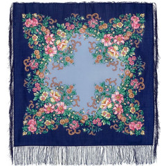 Pavlovo Posad Shawl Pavlovo Posad with silk fringe 89 x 89 1488-13 Evening garden