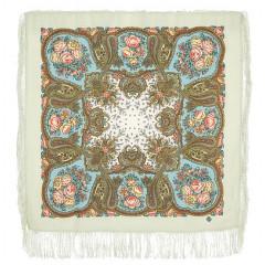 Pavlovo Posad Shawl Pavlovoposadskij with wool fringe 89 x 89 1549-2 Solveig