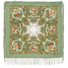 Pavlovo Posad Shawl Pavlovo Posad with silk fringe 89 x 89 1549-3 Solveig