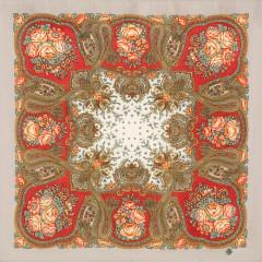 Pavlovo Posad Shawl Pavlovoposadskij with wool fringe 89 x 89 1549-4 Solveig