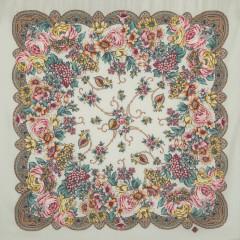 Pavlovo Posad Shawl Pavlovoposadskij with wool fringe 89 x 89 1577-2 The Song Lola