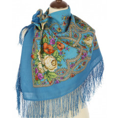 Pavlovo Posad Shawl Pavlovo Posad with silk fringe 89 x 89 1606-13 The magic weaver