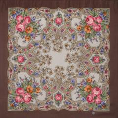 Pavlovo Posad Shawl Pavlovoposadskij with wool fringe 89 x 89 1606-16 The magic weaver