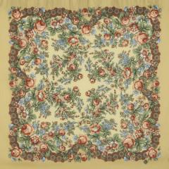 Pavlovo Posad Shawl Pavlovoposadskij with wool fringe 89 x 89 737-2 Maria
