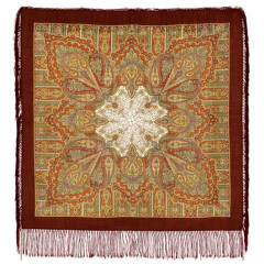 Pavlovo Posad Shawl Pavlovoposadskij with wool fringe 89 x 89 1157-17 Contemplation