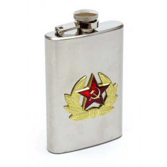 Flask metal A soldier's Badge of a narrow metal