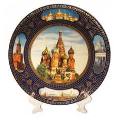 Plate porcelain (4K) Collage. St. Basil Cathedrak 20 cm. + a support in packing