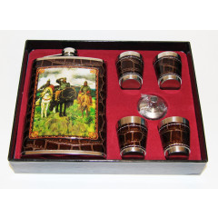 Flask metal set: flask in assortment of picture, 4 wine-glasses and a miniwatering can.
