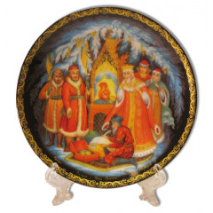 Plate 20-25 Palekh, Fairy tale on tsar Saltane 20 cm.+a support in packing