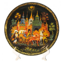 Plate 20-31 Palekh 20 cm. the Gold cockerel + a support in packing