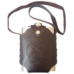 Flask metal in a leather case with shoulder strap, Russian Coat, 0.5