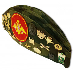 Headdress The soldier's forage cap camouflage with badges