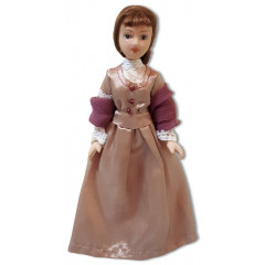 Doll handmade porcelain lady, costume, 19th century