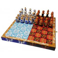Chess set matryoshka Gzhel and Khokhloma