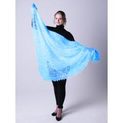 Pavlovo Posad Shawl Downy shawl handmade puffer, Aqua, 1.30