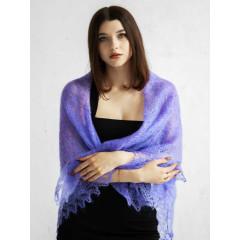 Pavlovo Posad Shawl Downy shawl handmade puffer, purple, 1.30