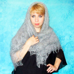 Pavlovo Posad Shawl Downy shawl handmade downy, light grey, 1.30
