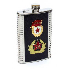 Flask metal badge soldiers ' leather panel black wide