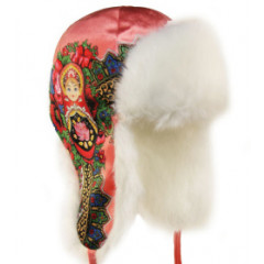 Headdress fur hat Lyubava, turquoise, matryoshka