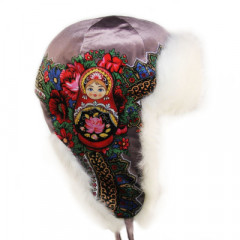 Headdress fur hat Lyubava, purple, matryoshka