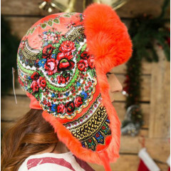 Headdress fur hat Lyubava, red, flowers