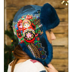 Headdress fur hat Lyubava, blue, matryoshka