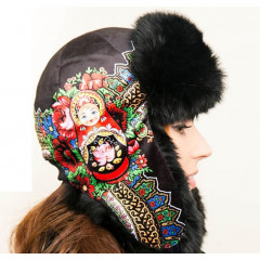 Headdress fur hat Lyubava, black, with matrioshka