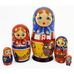 Nesting doll Traditional 5 pcs. traditional big, hen